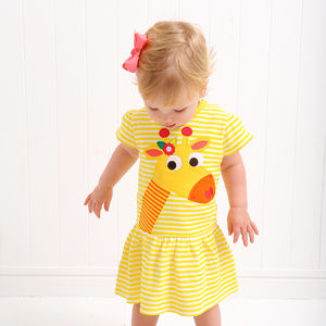 Gilly The Giraffe Appliqué Dress - clothing