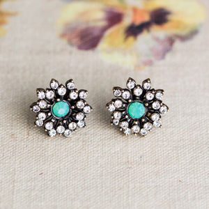 Anna Aqua Crystal Flower Earrings