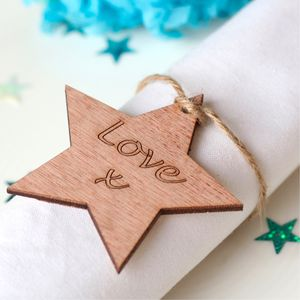 Set Of 10 In Your Own Words Wooden Star Wedding Favour - wedding favours