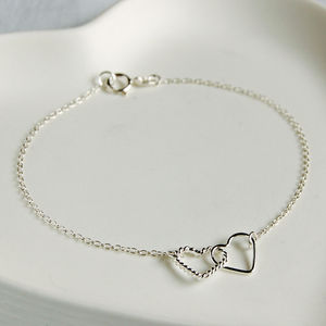 Sterling Silver Interlocking Hearts Bracelet - wedding jewellery