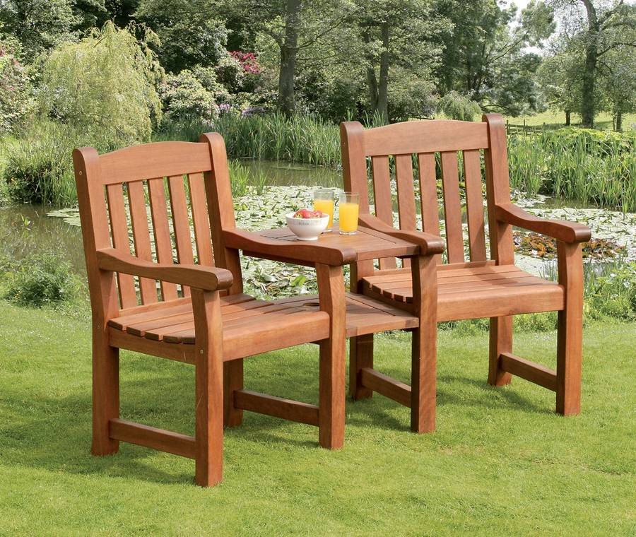 Companion Seat In Hardwood Garden Bench Belvedere By Garden Selections No