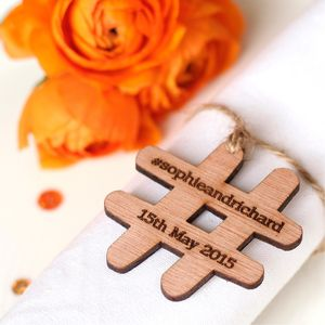 Set Of 10 Personalised Wooden Hashtag Wedding Favours - wedding favours
