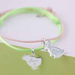 Personalised Bunny Or Chick Charm Bracelet