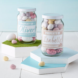 Personalised Easter Bunny Glass Jar - easter holiday outdoor play