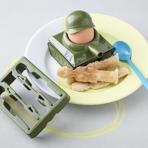 Army Tank Egg Cup And Soldiers Toast Cutter - gifts for him