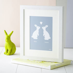 Personalised Love Bunnies Print - home accessories