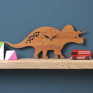 Triceratops Personalised Children's Dinosaur Clock