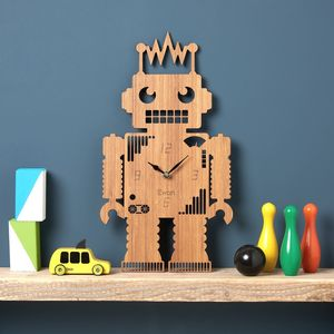Robot Personalised Childrens Clock - bedroom