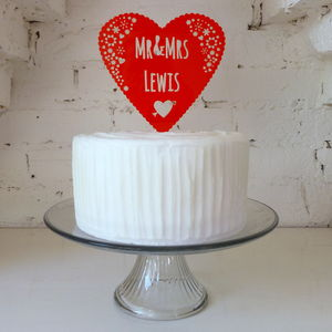 Personalised Mr And Mrs Wedding Cake Heart Topper