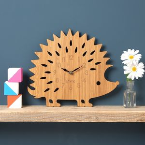 Hedgehog Personalised Childrens Clock - woodland nursery