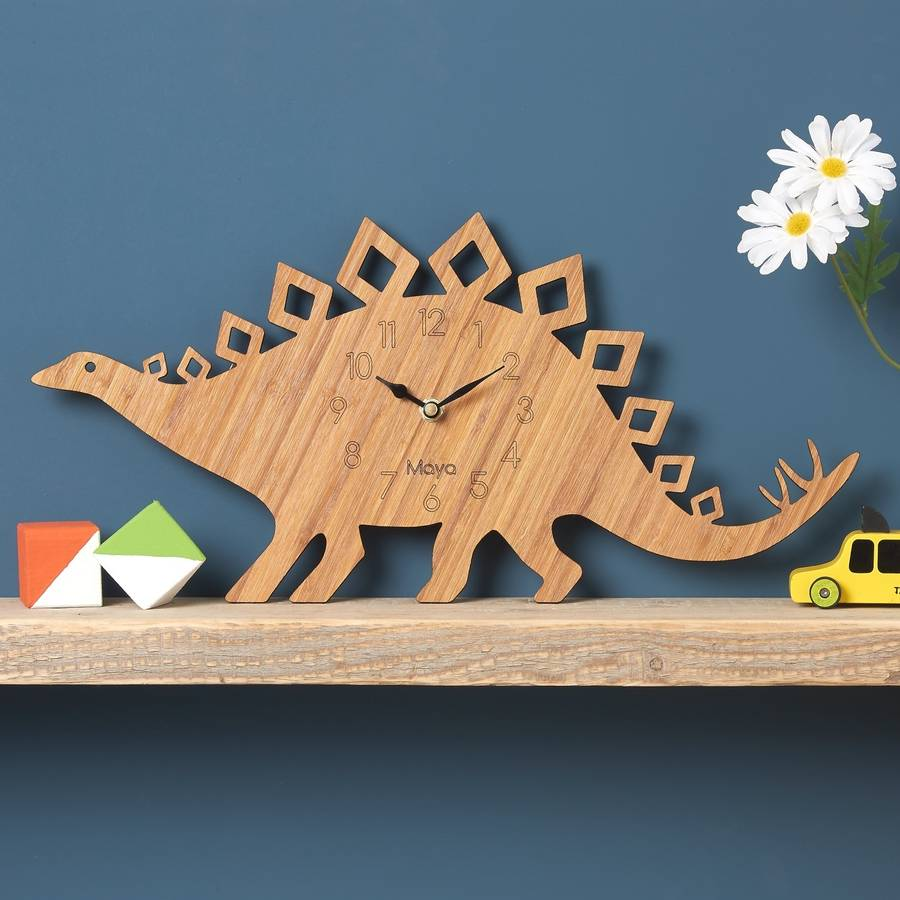 Stegosaurus Personalised Children S Dinosaur Clock By Owl