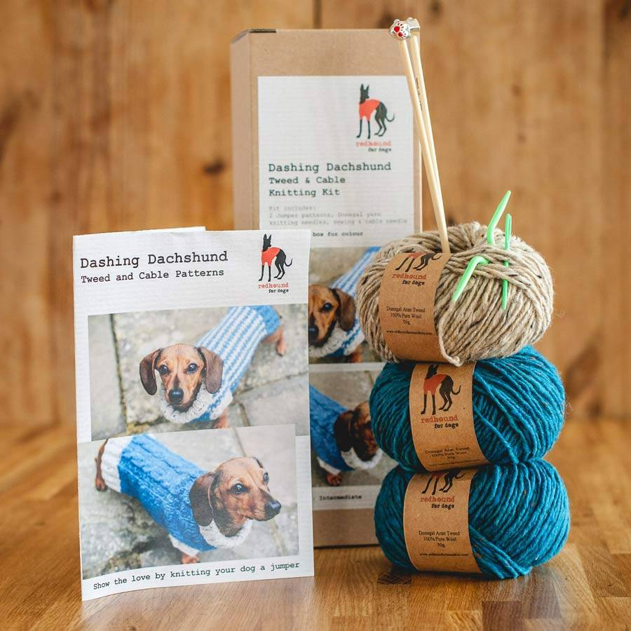 Jumper Knitting Kits Uk : Dog jumper knitting kit dachshund size by redhound for