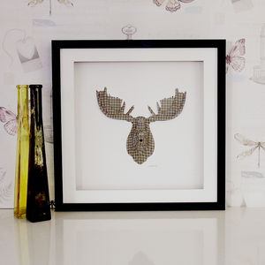 Framed 3D Moose Head Artwork - contemporary art