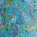 Fabric close up - Turquoise Paisley