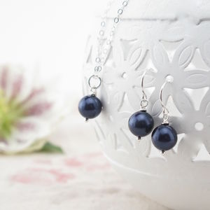 Alexia Midnight Blue Pearl Pendant And Earring Set - earrings