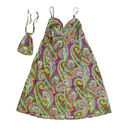 Travel Strap Dress in Purple/Green Paisley