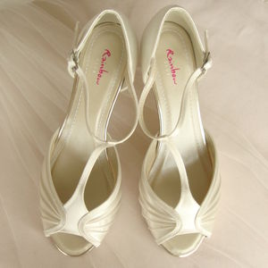 Ivory Satin T Bar Wedding Shoes