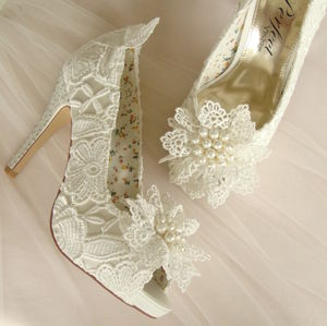Vintage Style Ivory Lace Wedding Shoe - bridal shoes