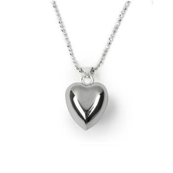 Girl's Special Chiming Heart Silver Necklace