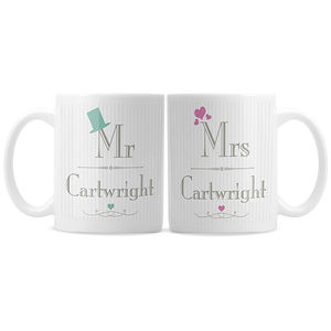 Personalised Mr And Mrs Mug Set - tableware