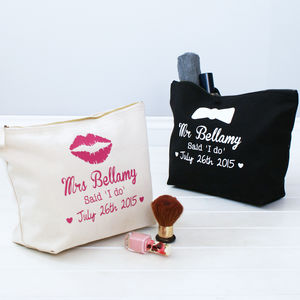 Personalised 'Mr And Mrs' Toiletry Bags