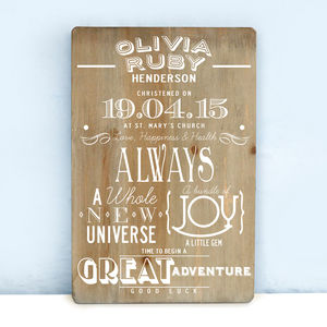 Personalised Christening Wooden Print - last-minute gifts
