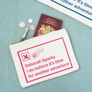 Personalised Postcard Travel Pouch - passport & travel card holders