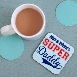 Personalised Super Daddy Coaster