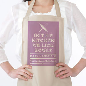 Lick Bowls Personalised Apron - kitchen linen