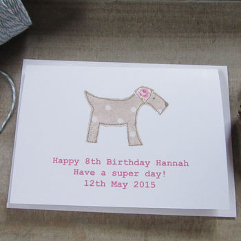 Personalised Pink Dog Birthday Card