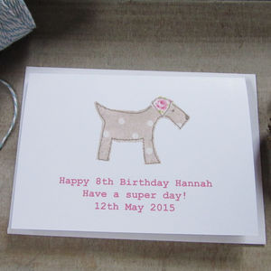 Personalised Pink Dog Birthday Card - birthday cards
