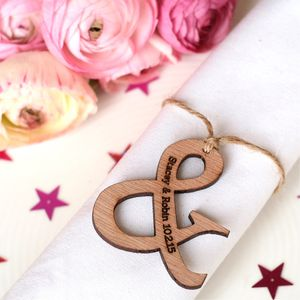 Set Of 10 Personalised Wooden Ampersand Wedding Favours