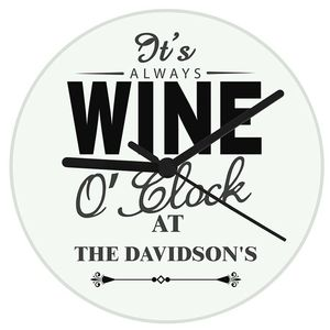 Personalised 'Wine O Clock' Clock - office & study