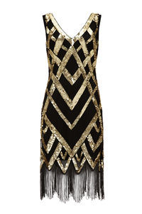 Vintage Inspired Flapper Embellished Fringe Dress - dresses