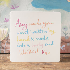 Your Own Words On A Personalised Greeting Card