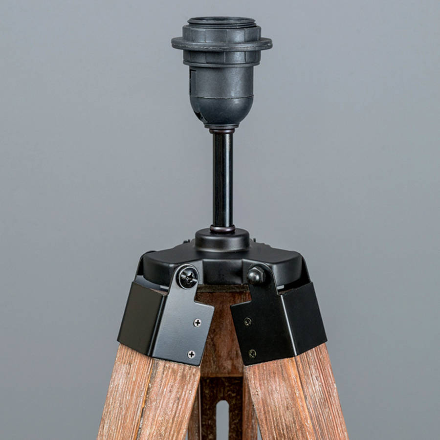 Industrial wood tripod floor lamp base by quirk industrial wood tripod floor lamp base mozeypictures Image collections