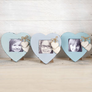 Wooden Coloured Heart Photo Frames