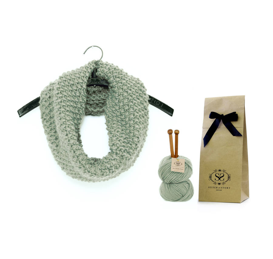 classic beginner snood knitting kit by stitch & story notonthehighstree...