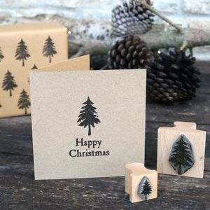 Pine Tree Rubber Stamp - christmas sale