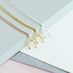 Silver Lucky Wishbone Necklace