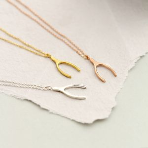 Silver Lucky Wishbone Necklace - charm jewellery
