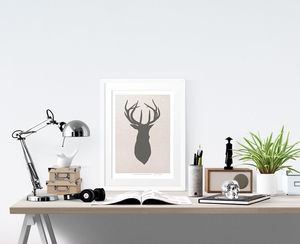 Stags Head Print - animals & wildlife