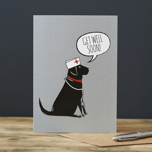 Black Labrador Get Well Card - get well soon cards