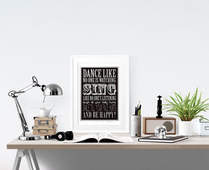 'Be Happy!' Print - typography
