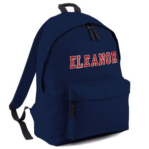 Personalised Applique Name Backpack Navy