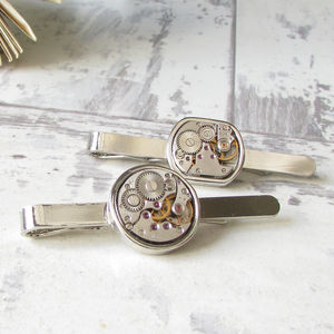 Vintage Watch Movement Tie Bar - collar studs & stiffeners