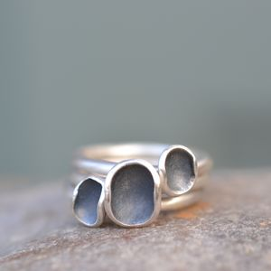 Three Handmade Silver Euphorbia Stacking Rings - rings