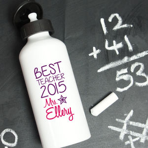 Personalised Best Teacher Water Bottle - camping