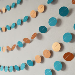 Teal And Shimmer Copper Paper Garland - rustic wedding