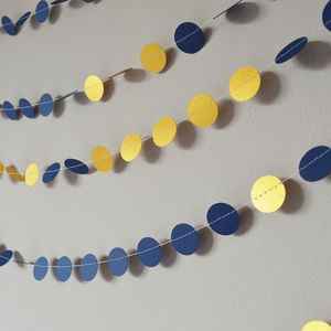 'Navy And Shimmer Gold' Paper Garland